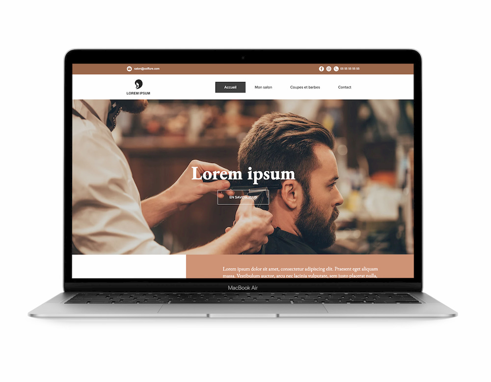 Section Principale Site Web Salon de coiffure