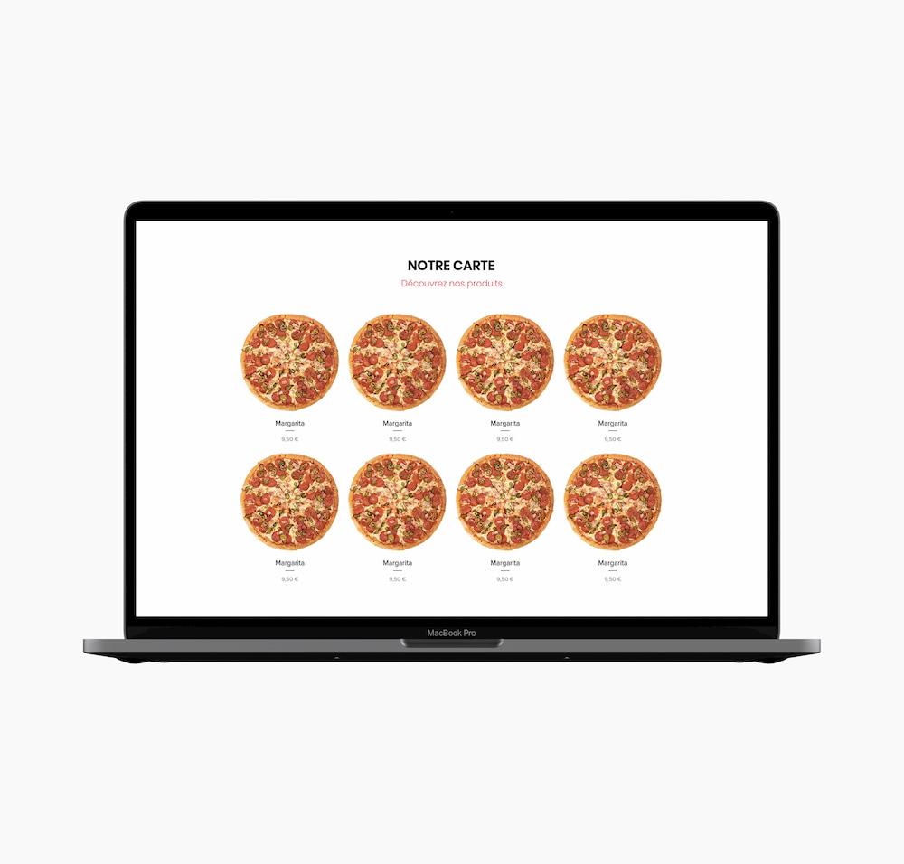 Webdesign partie la Carte site web d'un restaurant