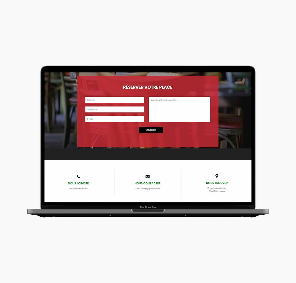 Webdesign partie Contact site web d'un restaurant