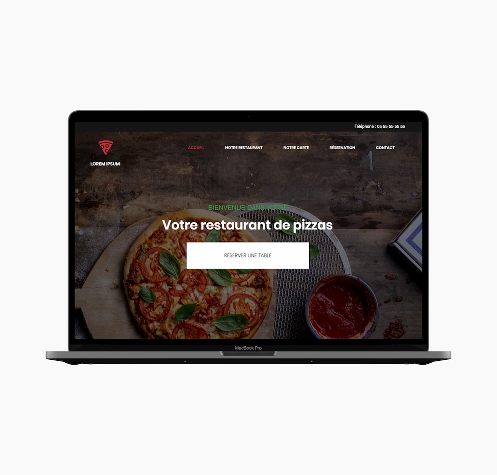 Webdesign partie Principale site web d'un restaurant