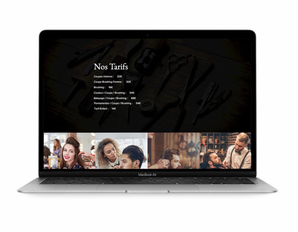 Section Tarifs Site Web Salon de coiffure